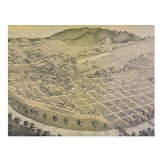 Mapa ilustrado del vintage de El Paso Tejas (1886) Postales