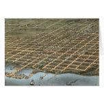 Mapa ilustrado del vintage de Erie Pennsylvania (1 Tarjetón