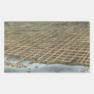Mapa ilustrado del vintage de Erie Pennsylvania Pegatina Rectangular