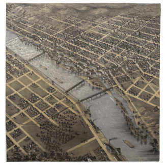 Mapa ilustrado del vintage de Grand Rapids (1868) Servilleta