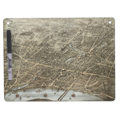 Mapa ilustrado del vintage de Hartford CT (1877) Pizarras Blancas