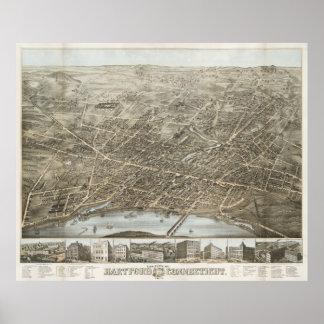 Mapa ilustrado del vintage de Hartford CT (1877) Póster