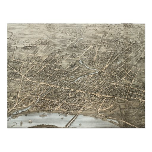 Mapa ilustrado del vintage de Hartford CT (1877) Postales