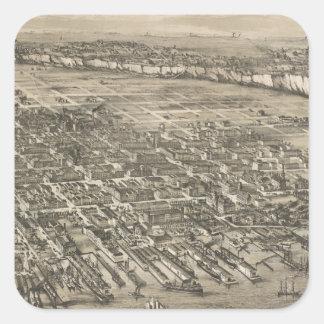 Mapa ilustrado del vintage de Hoboken NJ (1881) Pegatina Cuadrada