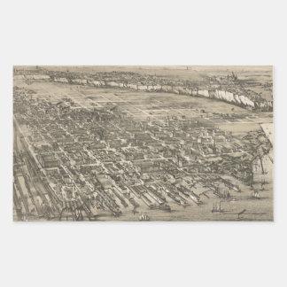Mapa ilustrado del vintage de Hoboken NJ (1881) Pegatina Rectangular