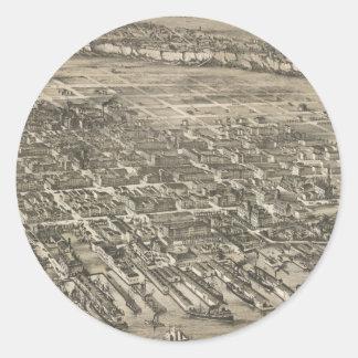 Mapa ilustrado del vintage de Hoboken NJ (1881) Pegatina Redonda