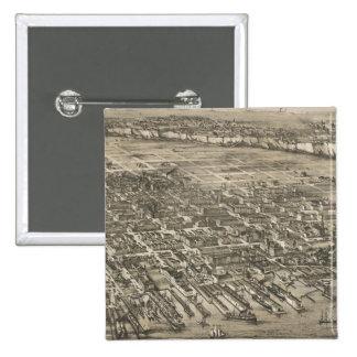 Mapa ilustrado del vintage de Hoboken NJ 1881 Pins