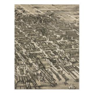 Mapa ilustrado del vintage de Hoboken NJ (1881) Tarjetas Postales