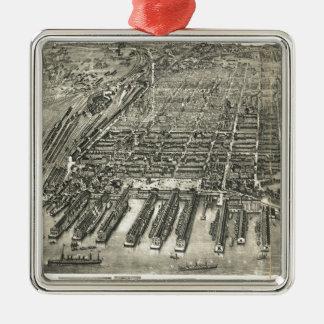 Mapa ilustrado del vintage de Hoboken NJ (1904) Adorno Cuadrado Plateado
