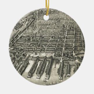 Mapa ilustrado del vintage de Hoboken NJ (1904) Adorno Redondo De Cerámica