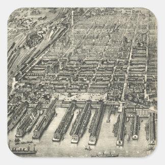 Mapa ilustrado del vintage de Hoboken NJ (1904) Pegatina Cuadrada