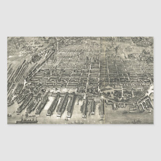 Mapa ilustrado del vintage de Hoboken NJ (1904) Pegatina Rectangular
