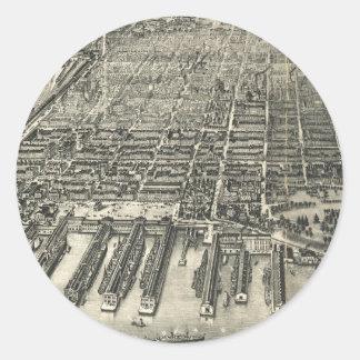 Mapa ilustrado del vintage de Hoboken NJ (1904) Pegatina Redonda