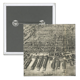 Mapa ilustrado del vintage de Hoboken NJ 1904 Pins