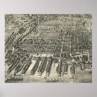 Mapa ilustrado del vintage de Hoboken NJ (1904) Póster