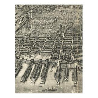 Mapa ilustrado del vintage de Hoboken NJ (1904) Postales