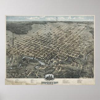 Mapa ilustrado del vintage de Houston Tejas (1873) Póster