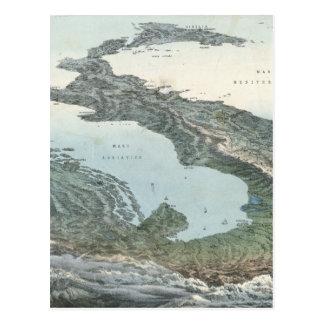 Mapa ilustrado del vintage de Italia (1853) Tarjeta Postal