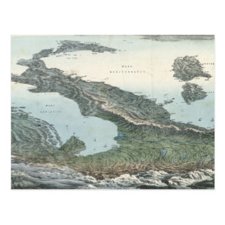 Mapa ilustrado del vintage de Italia (1853) Tarjetas Postales