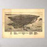 Mapa ilustrado del vintage de Key West FL (1884) Póster