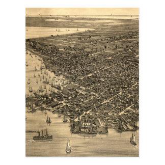 Mapa ilustrado del vintage de Key West FL (1884) Postal