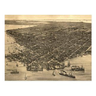 Mapa ilustrado del vintage de Key West FL (1884) Tarjeta Postal