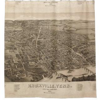 Mapa ilustrado del vintage de Knoxville (1886) Cortina De Baño