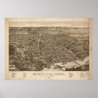 Mapa ilustrado del vintage de Knoxville (1886) Póster