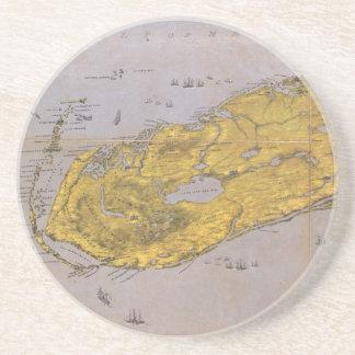 Mapa ilustrado del vintage de la Florida (1861) Posavasos Personalizados