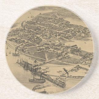 Mapa ilustrado del vintage de la llave FL (1884) d Posavasos Manualidades