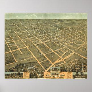 Mapa ilustrado del vintage de Lexington Kentucky Póster