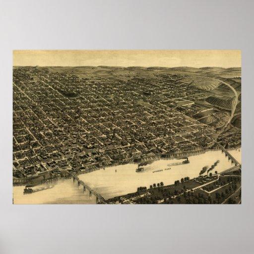 Mapa ilustrado del vintage de Little Rock (1887) Póster