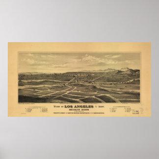 Mapa ilustrado del vintage de Los Ángeles (1877) Póster