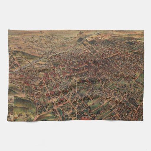 Mapa ilustrado del vintage de Los Ángeles (1891) Toalla