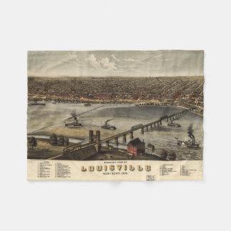 Mapa ilustrado del vintage de Louisville (1876) Manta De Forro Polar