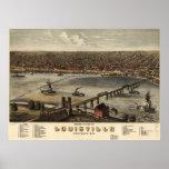 Mapa ilustrado del vintage de Louisville (1876) Posters