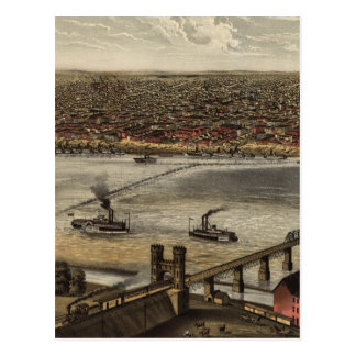 Mapa ilustrado del vintage de Louisville (1876) Tarjetas Postales