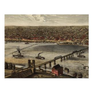 Mapa ilustrado del vintage de Louisville (1876) Postales