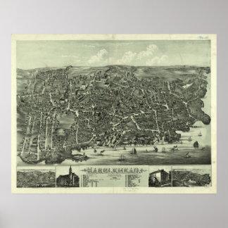 Mapa ilustrado del vintage de Marblehead mA (1882) Poster