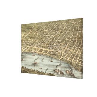 Mapa ilustrado del vintage de Memphis Tennessee (1 Lienzo Envuelto Para Galerías