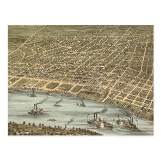 Mapa ilustrado del vintage de Memphis Tennessee (1 Postales