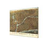 Mapa ilustrado del vintage de Milwaukee (1872) Lienzo Envuelto Para Galerias