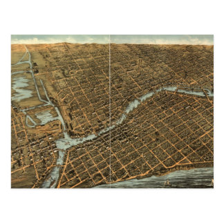 Mapa ilustrado del vintage de Milwaukee (1872) Postales