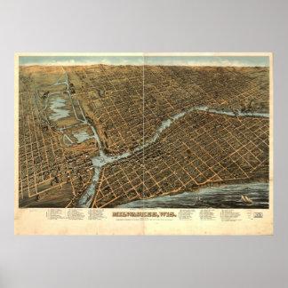 Mapa ilustrado del vintage de Milwaukee (1872) Póster
