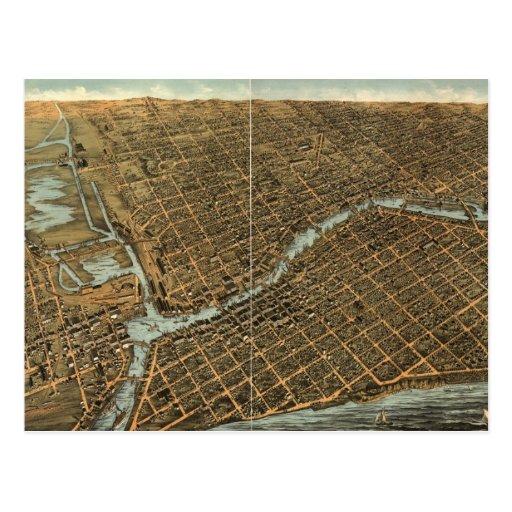 Mapa ilustrado del vintage de Milwaukee (1872) Postal