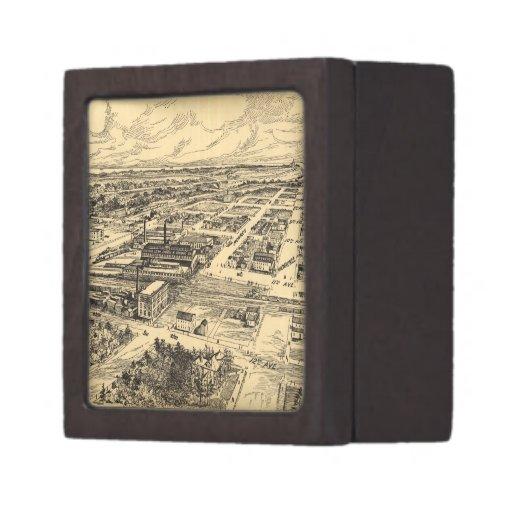 Mapa ilustrado del vintage de Milwaukee meridional Caja De Recuerdo De Calidad