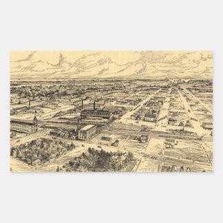 Mapa ilustrado del vintage de Milwaukee meridional Pegatina Rectangular