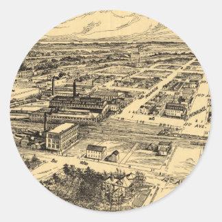 Mapa ilustrado del vintage de Milwaukee meridional Pegatina Redonda