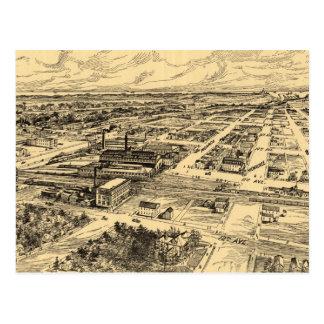 Mapa ilustrado del vintage de Milwaukee meridional Tarjetas Postales