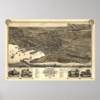 Mapa ilustrado del vintage de Nantucket (1881) Póster